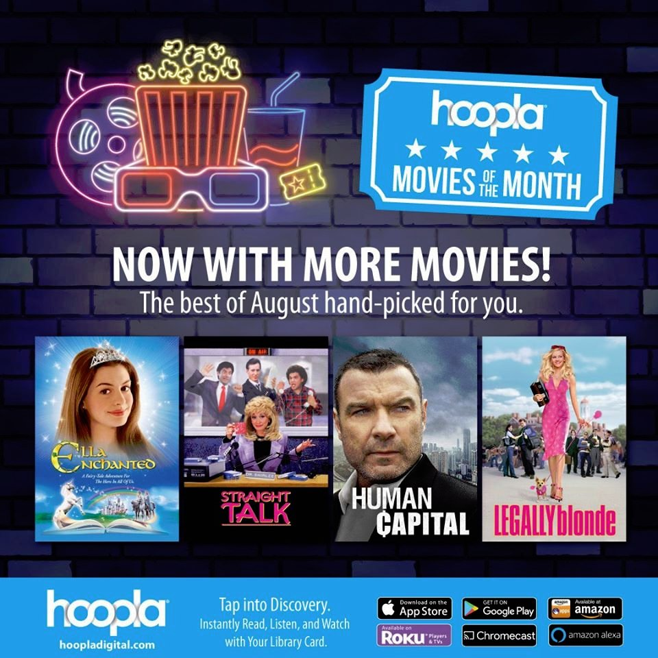 Hoopla has announced their new August Movies of the Month! Watch them all!
