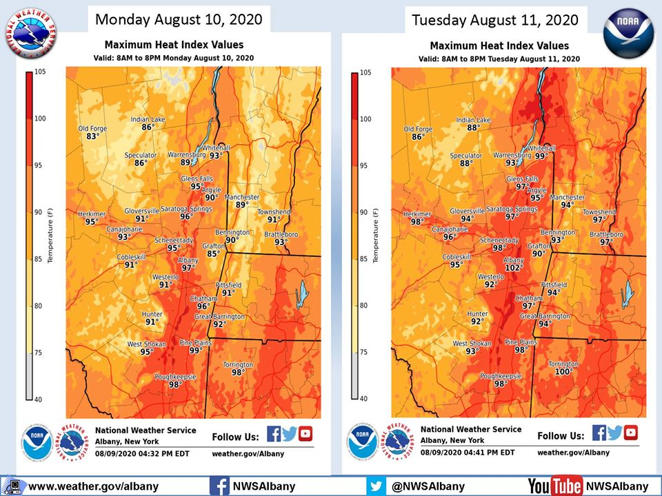 The National Weather Service has issued a Heat Advisory for today, August 10th, until 8pm tomorrow. The combination of high temperatures and humidity during this period will lead to heat index values between 95 and 99 degrees.