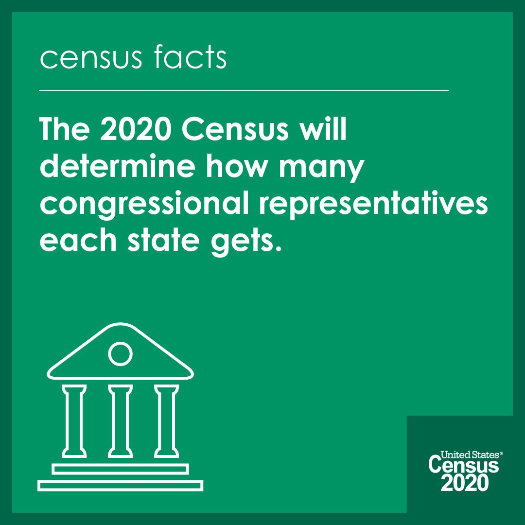 The 2020 Census will help determine how many representatives get to represent YOU! Fill it out now!