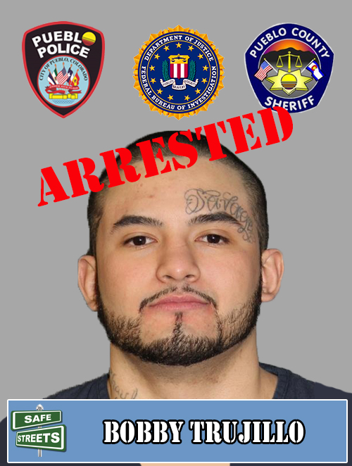SAFE STREETS ARREST  Bobby Trujillo had a no bond warrant for Assault which included Aggravated Robbery and Assault w/ Deadly Weapon.  Out of 432 Safe streets criminals featured, 404 have been arrested for a 94% arrest rate.