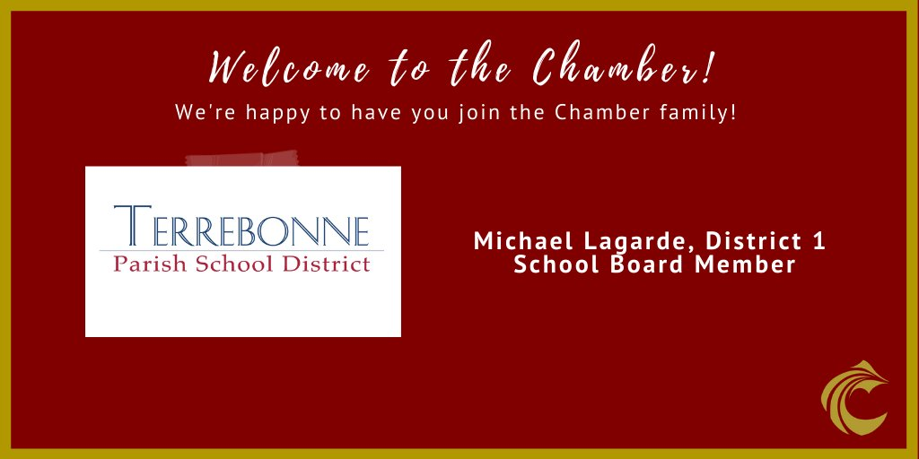 Today we're highlighting an associate member with the Terrebonne Parish School District. Welcome to the Chamber family, Michael Lagarde! Mr. Largarde serves as a school board member for District one and we're excited to have him as an active member! Welcome! #newmembermonday