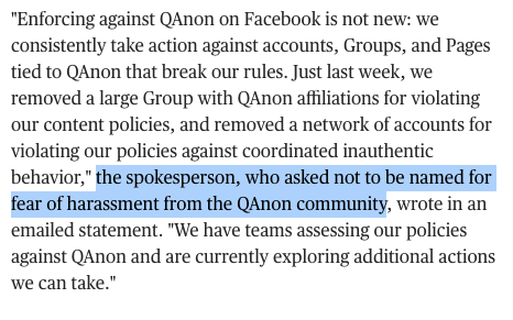 This little detail in the @BrandyZadrozny and  @ArijitDSen scoop about the huge presence of QAnon groups on Facebook says a lot. FB spox ppl fear harassment from a group that has exploded online thanks in large part to FB.