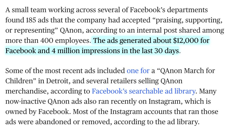 They're also considering excluding Qanon content from ads. (Which they don't currently do!)