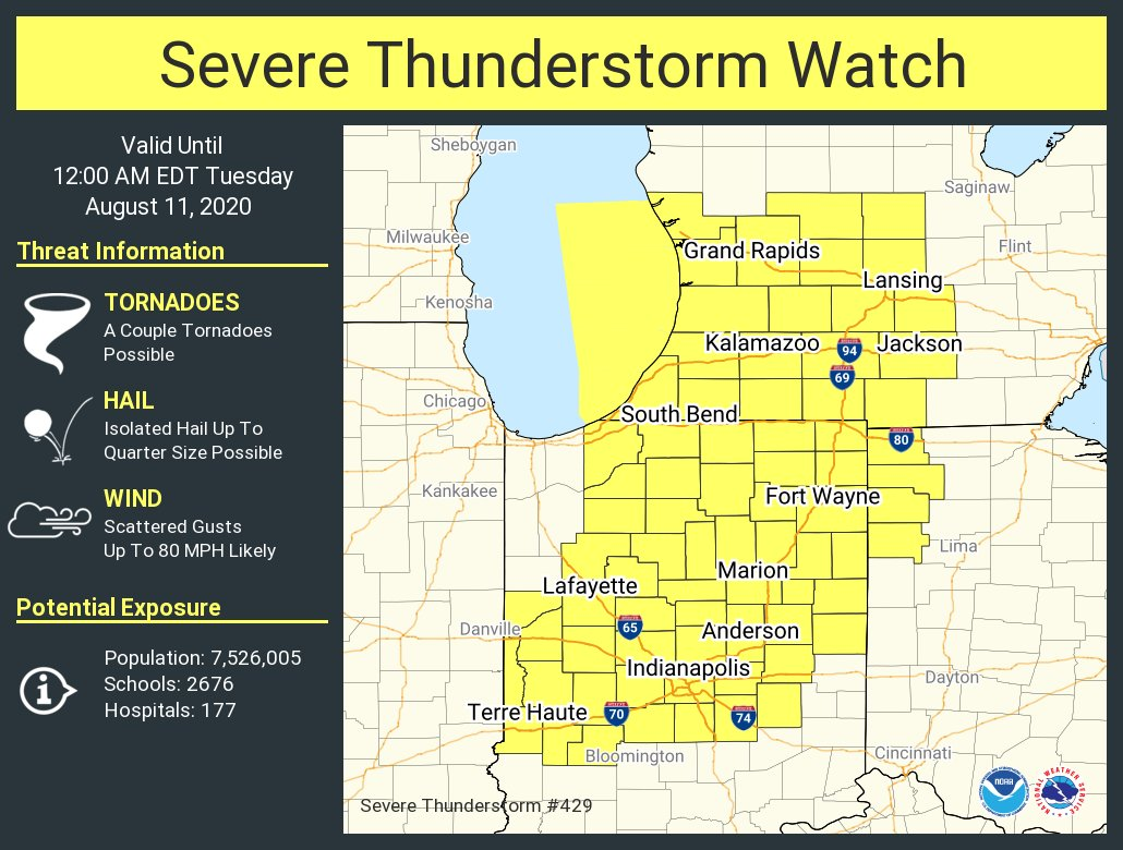NWSIndianapolis: A severe thunderstorm watch has been issued for parts of Indiana, Michigan and Ohio until 12 AM EDT