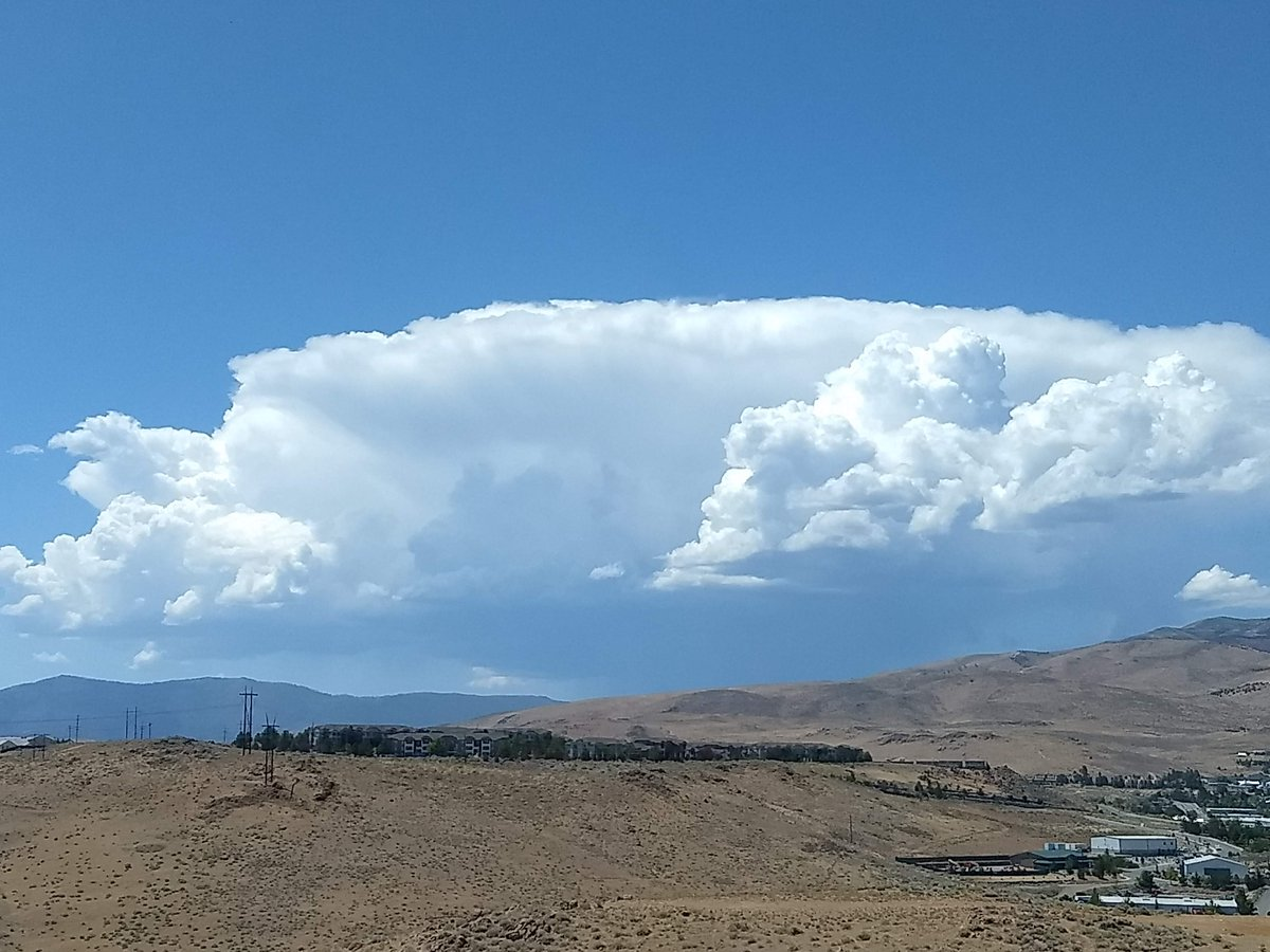 1:15p Mon: Time to come off the mountain and/or get out of the lake!  Storms are forming again this aftn over the Sierra, likely to shift east along the western Nevada Sierra Front later today.  Pic: Tstorm cell N of I-80 and S of Sierraville along the Sierra crest from NWS Reno.