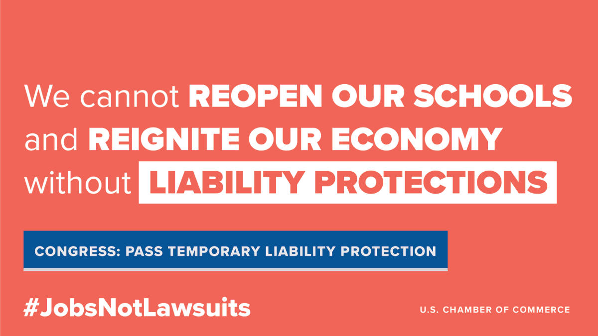 Tell Congress to pass temporary, targeted liability protections now! What you can do:  #JobsNotLawsuits