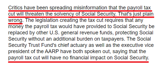 """Joe Biden is trafficking in fear and spreading lies.  President Trump cut payroll taxes for workers, and Social Security funding will not be affected.  In January 2011, Biden wrote that a """"Payroll tax cut will create jobs"""" and """"have no financial impact on Social Security."""""""