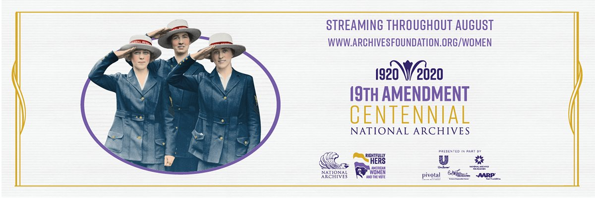 Stay abreast of @USNatArchives events celebrating the centennial of women's suffrage, courtesy of the @archivesfdn — follow #RightfullyHers , and visit  to sign up for updates and reminders. #suffrage #19threpresents #womensvote100