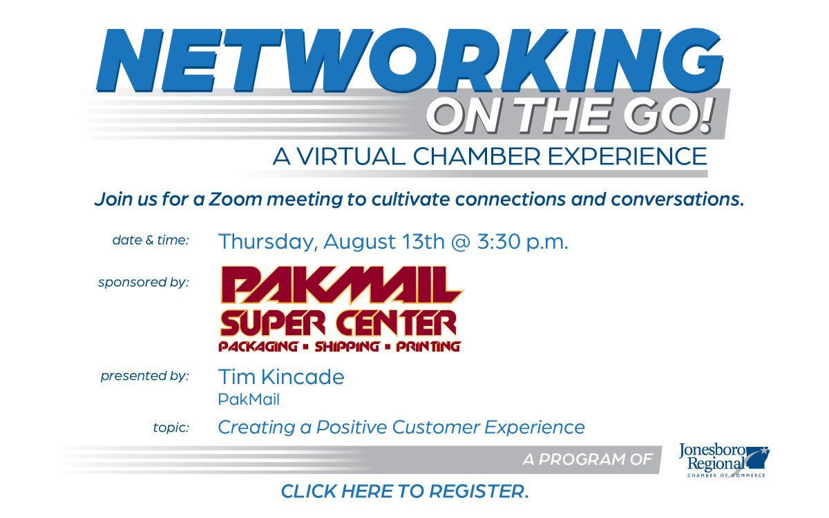 Join us for our upcoming Networking On The Go sponsored by PakMail. Tim Kincade will discuss how to create a positive customer experience. Register here: