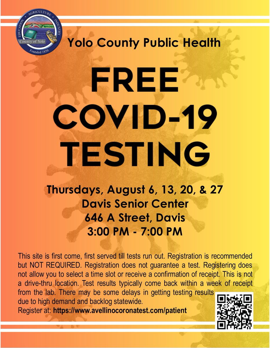 COVID-19 testing continues every Thursday this month in Davis at the Davis Senior Center. See flyer for all details. Please bring proof of Yolo County residency. You may preregister at: