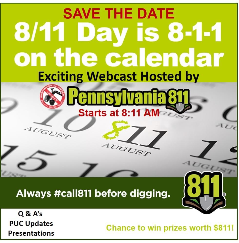 National 811 Day is tomorrow.  Join PA811 for their webcast to learn more.  Call before you dig ! #call811