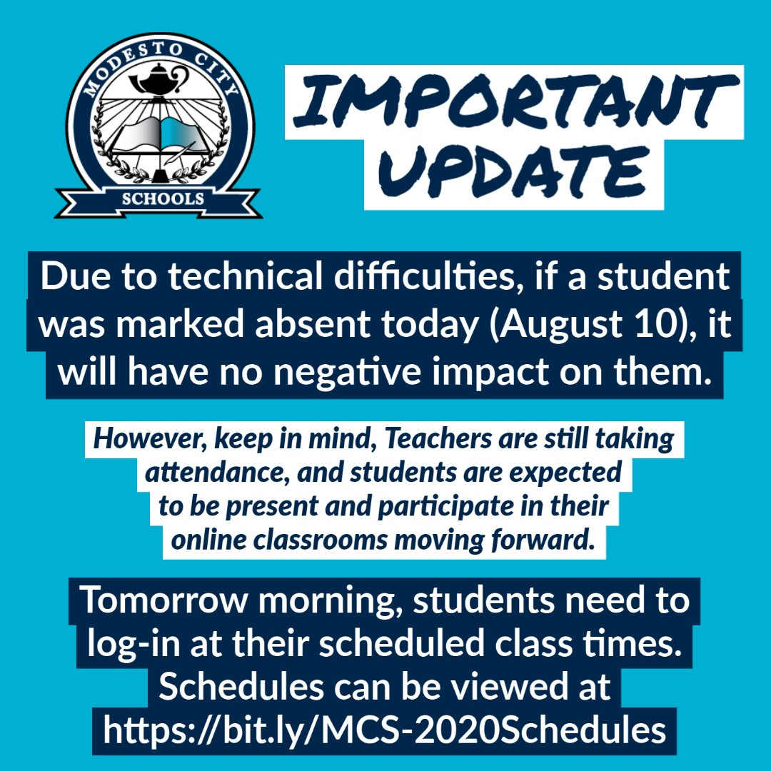 Due to technical issues, if a student was marked absent today, it will have NO NEGATIVE IMPACT. Teachers are still taking attendance, & students are expected to be in online classrooms moving forward. Tomorrow, students need to log-in at scheduled times: