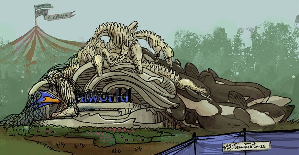 A visual representation of the reality of #SeaWorld by @d_delphinidae 🎪 Want to know why you should never visit dolphins or whales in captivity? Read this:  #DolphinProject #DontGoToSeaWorld #Orca #KillerWhale #Artivism