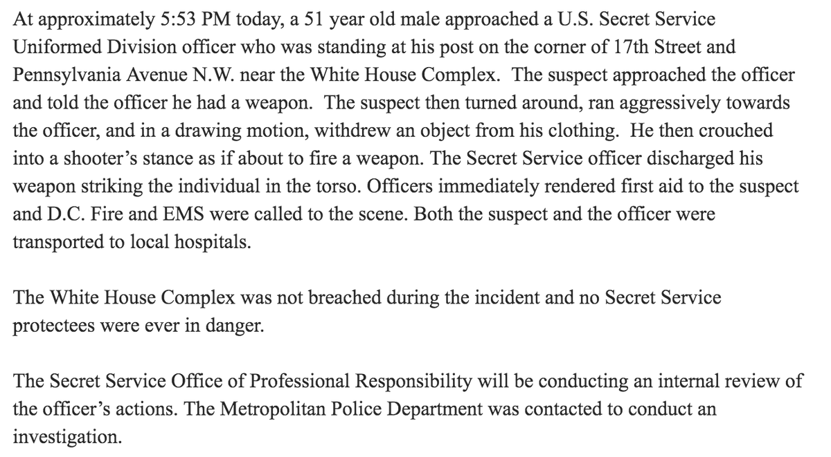Statement from U.S. Secret Service on officer involved shooting: