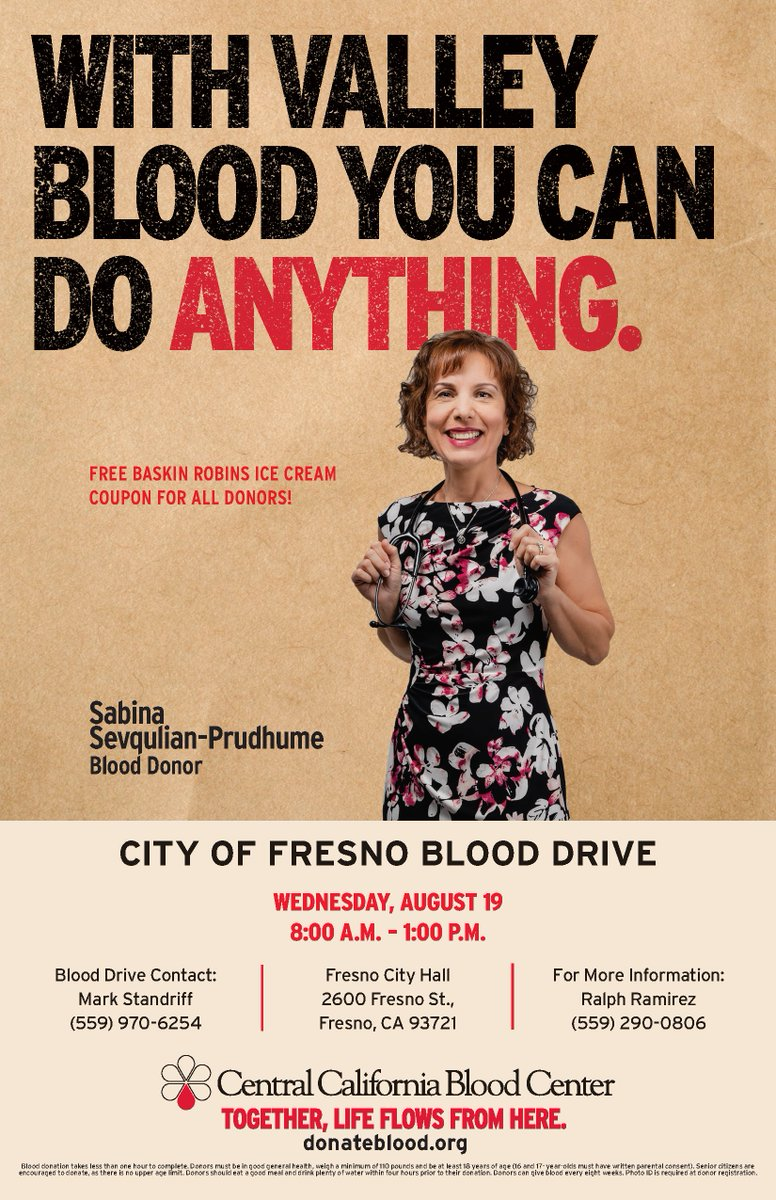 The City of Fresno and the Central California Blood Center will hold a blood drive on Wed, August 19, at City Hall (2600 Fresno St) from 8:00 a.m. - 1:00 p.m. Get a coupon for a free pint of @BaskinRobbins ice cream with your donation. Visit  to sign up