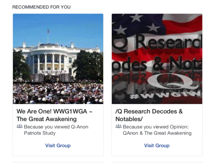 So Facebook says it is cracking down on QAnon groups. And yet Facebook keeps emailing me to suggest I join these QAnon groups...