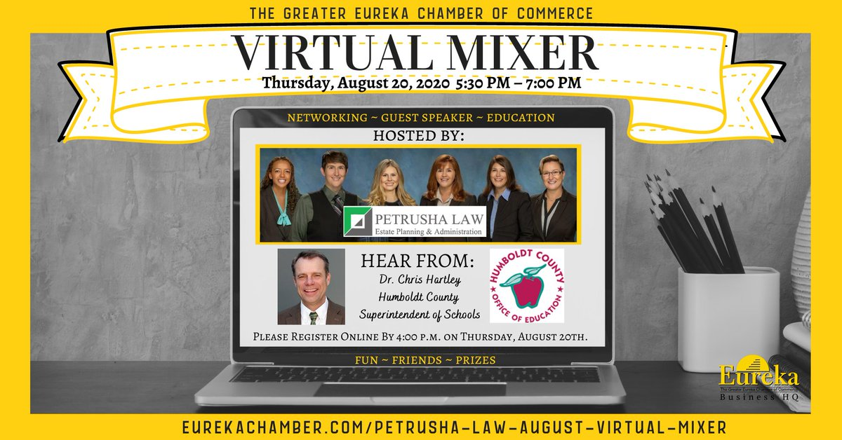 We'd love for you to join us in our August #VirtualMixer hosted by Humboldt County Estate Planning Attorney, Petrusha Law. Thursday, August 20, 2020 from 5:30 to 7:00 p.m. #zoommeeting #eurekachamber #petrushalaw SIGN UP NOW, HERE: