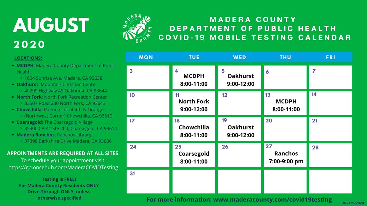 There are slots available for tomorrow's North Fork mobile drive-thru site from 9:00-12:00 and Thursday's event at the MCDPH from 8:00-11:00. Appointments required! Appts. can be made up until 9:00PM the day prior to the event.  To schedule, please visit