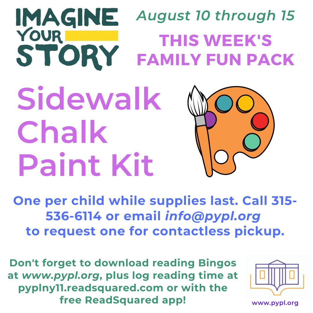This week's fun kit includes everything you need to make Sidewalk Chalk Paint. This is a super-easy project great for all ages. Give us a call to request yours for curbside pickup: 315-536-6114. #LibrariesFromHome #ImagineYourStory