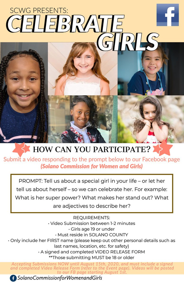 The SCWG wishes to celebrate the diversity and uniqueness of girls, ages 19 and under, who live in Solano County! Instructions to participate can be found in the linked document. The videos will be posted on SCWG's FB page beginning August 1st 2020.