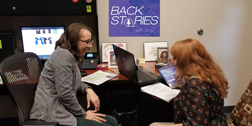 """We continue to look for new ways to reach our patrons. We recently added a podcast called """"Back Stories"""" hosted by librarian Amy Dalton. Each episode Amy and a guest librarian discuss the stories behind the authors. #INLibrarySnapshotDay"""