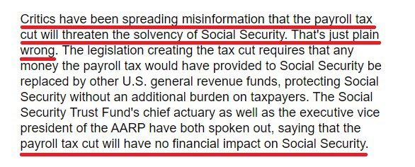 @JoeBiden Trump said no such thing. He cut payroll taxes for people who make less than $100,000. He cut those taxes to help the working class. Back in 2011 YOU even admitted payroll tax cuts don't threaten social security. Stop lying. Here's your own words.