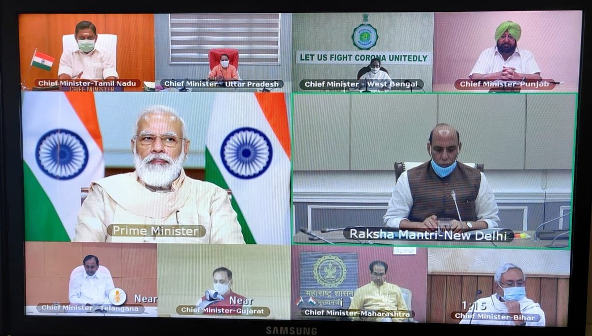 #BIGNEWS: PM @narendramodi holds meeting with CMs of #AndhraPradesh, #Karnataka, #TamilNadu, #WestBengal, #Maharashtra, #Punjab, #Bihar, #Gujarat, #Telangana, #UttarPradesh today via video conference.