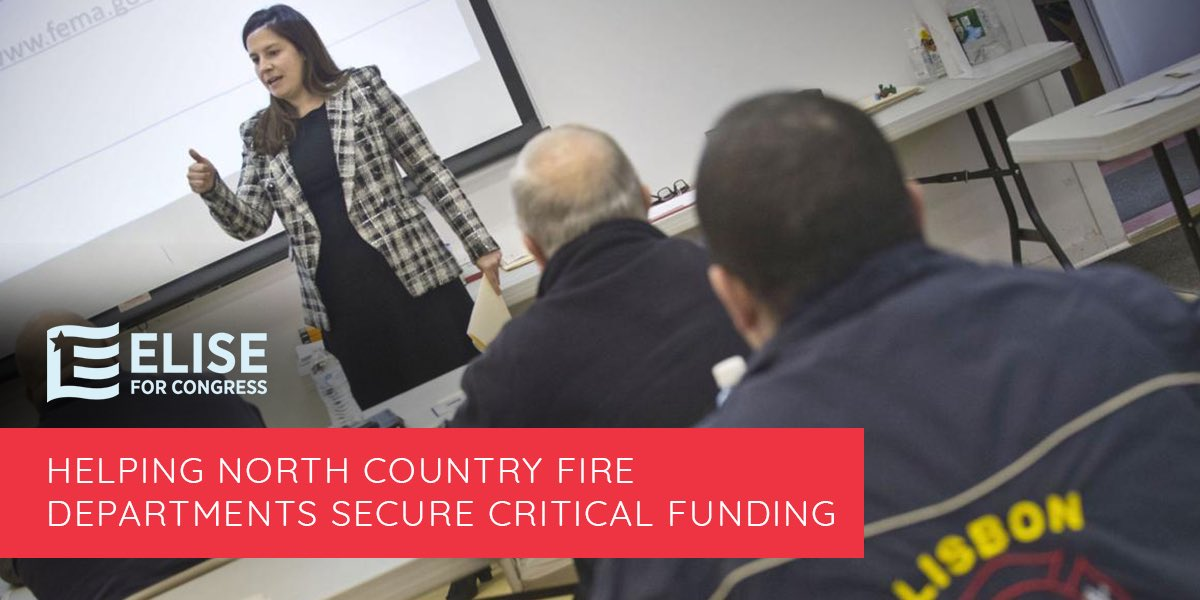 RESULT: I'm proud to have hosted several @FEMA Assistance to Firefighters Grant workshops across #NY21, and I'm thrilled to have seen great success in helping our North Country fire departments successfully receive this important FEMA grant funding. #100Days100Results