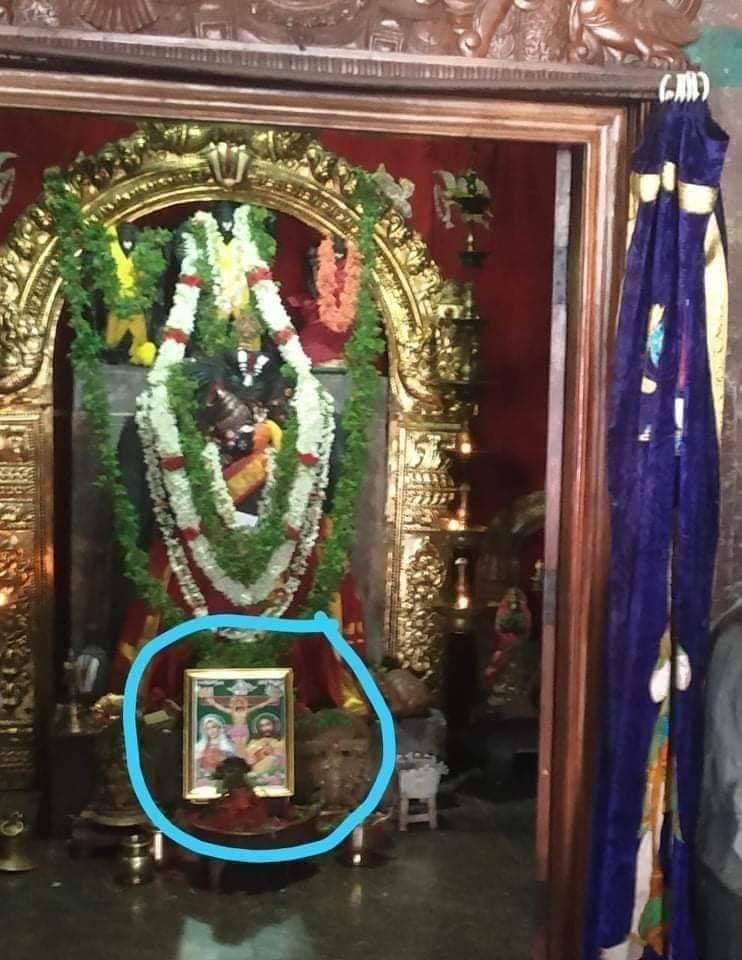 Now Jesus has entered to our Bahawan's Garbha Griha too !!  Kollegal Anjenaya Swamy Varu Gudi in Kollegal,Karnataka Cops forced priest to keep photo of Jesus & Mary & do pooja for it! Blatent misuse of power! @BJP4Karnataka @Tejasvi_Surya #tuesdayvibes