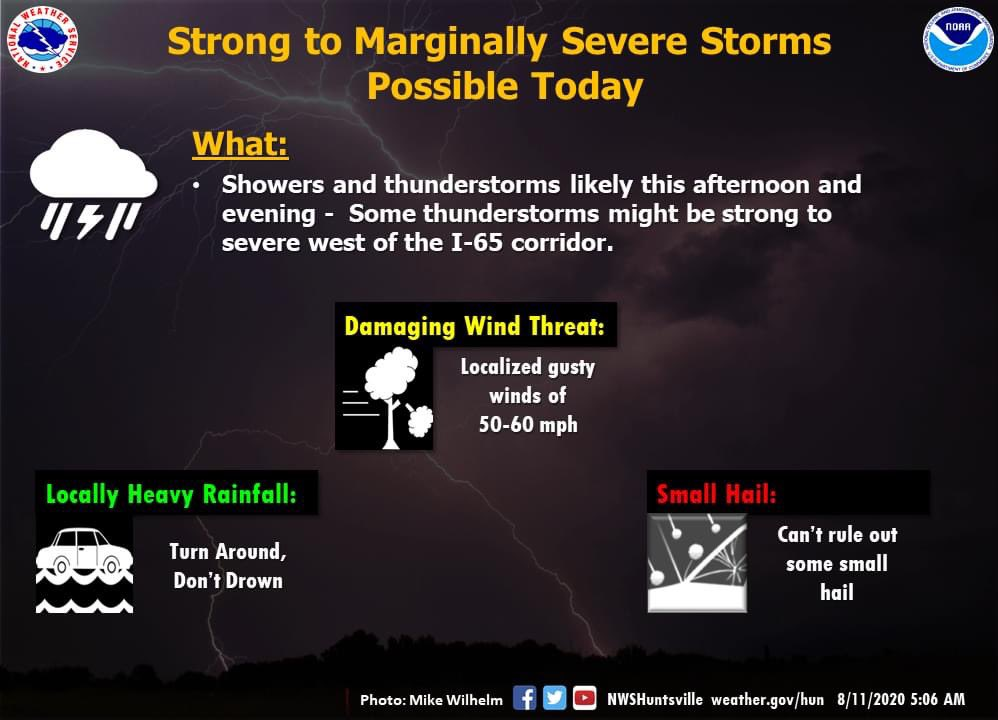 Showers and thunderstorms are likely this afternoon and evening. Some storms could be strong to marginally severe west of the I-65 corridor. The main threats with the strongest storms would be damaging wind gusts of 50 to 60 mph, locally heavy rainfall, and small hail. #HUNwx