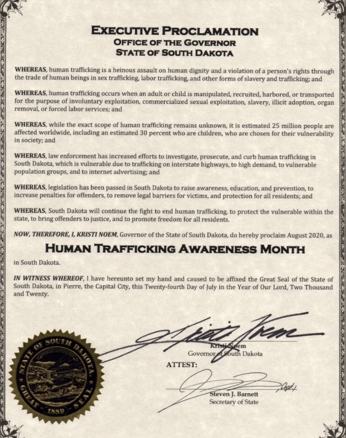 August is Human Trafficking Awareness Month in South Dakota.    Let's continue the fight to #EndTrafficking, to protect the vulnerable within our state, to bring offenders to justice, and to promote freedom for all of our people.