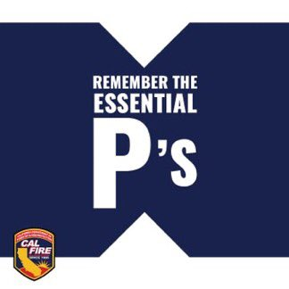 Do you have your important items set aside in case of an #evacuation? If you need help remembering what those are, think of the essential P's! Like papers, plastic (credit cards), phone numbers & copies of important documents. Visit … #CALFIRESHU2020