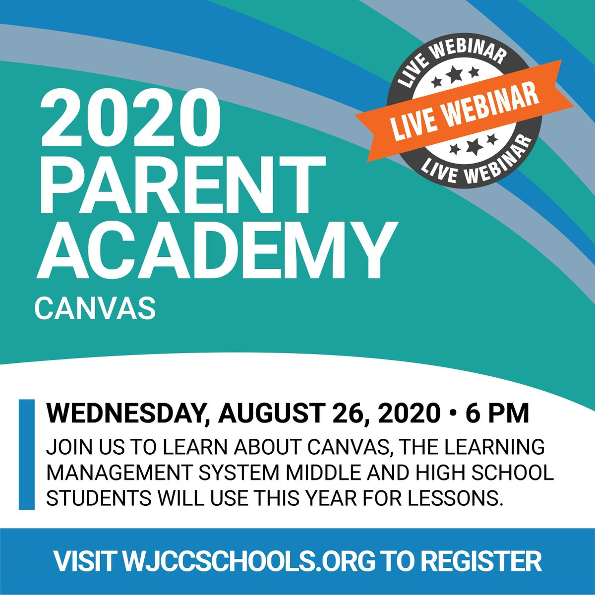 Register today to attend our very first Parent Academy Webinar on August 26 at 6PM. Tour Canvas and ask questions about the learning platform middle and high school students will use this fall. Register online today: