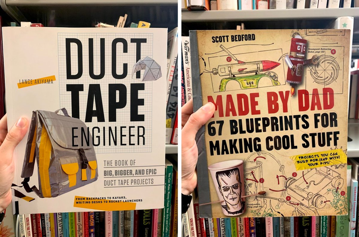 It's #CraftyTuesday! Check out one of these #craftbooks from the #PiquaLibrary: Duct Tape Engineer by Lance Akiyama, and Made by Dad by Scott Bedfordi. #letsgetcrafty #creativetuesday #checkoutourbooks #read #reading #library #librarylove #librarylife #libraryfun #lovemylibrary