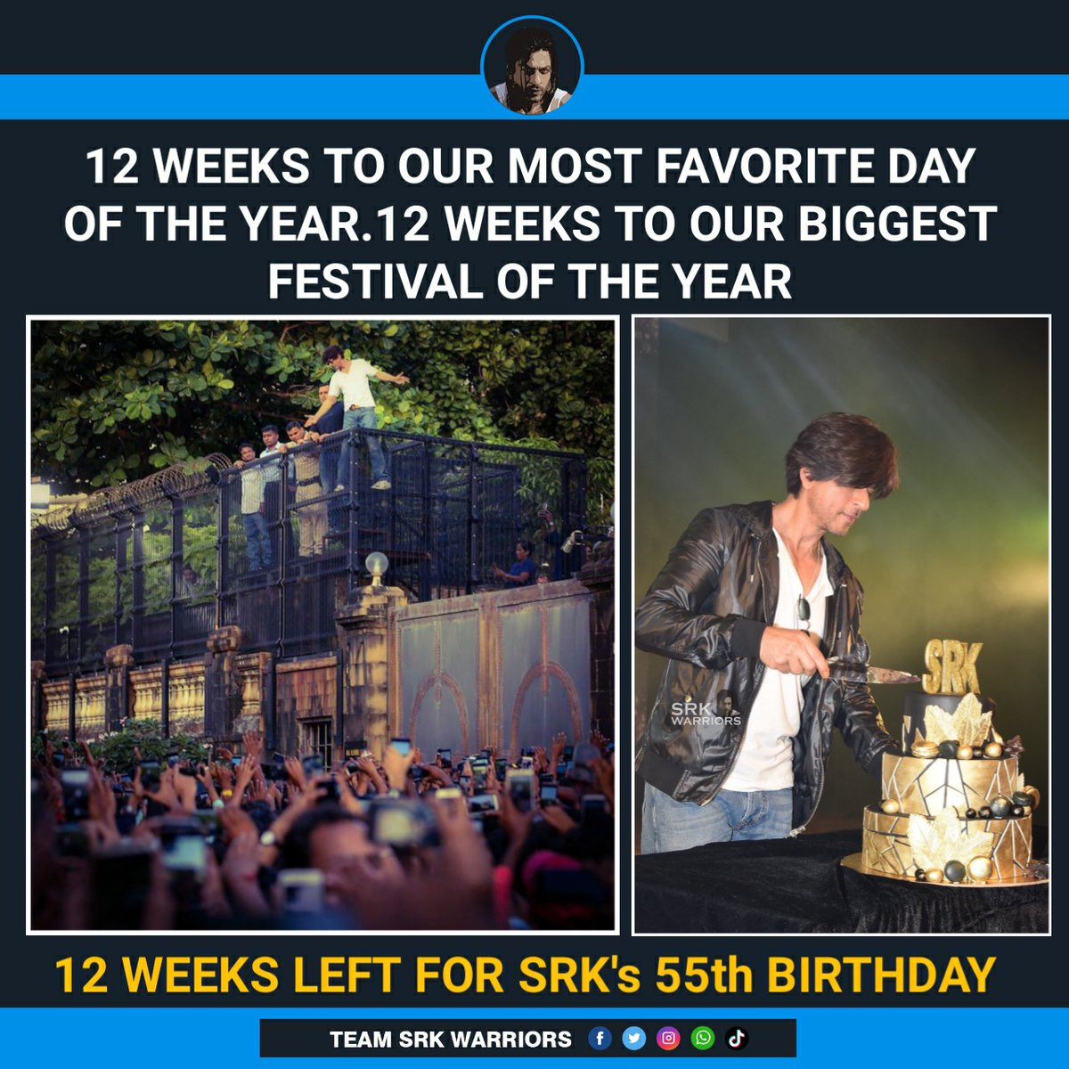 Exactly 12 Weeks to our most favourite day of the year, 12 weeks to our biggest festival of the year, 12 weeks left for Shah Rukh Khan's 55th Birthday! ❤️  #Happy55thBirthdaySRK
