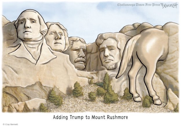 """@AngelaBelcamino @realDonaldTrump But the stable genius can say Person, Woman, Man, Camera, and TV in the right order. He deserves a """"Noble"""" prize for that, and he deserves to be carved into Mt. Rushmore right next to Abe."""