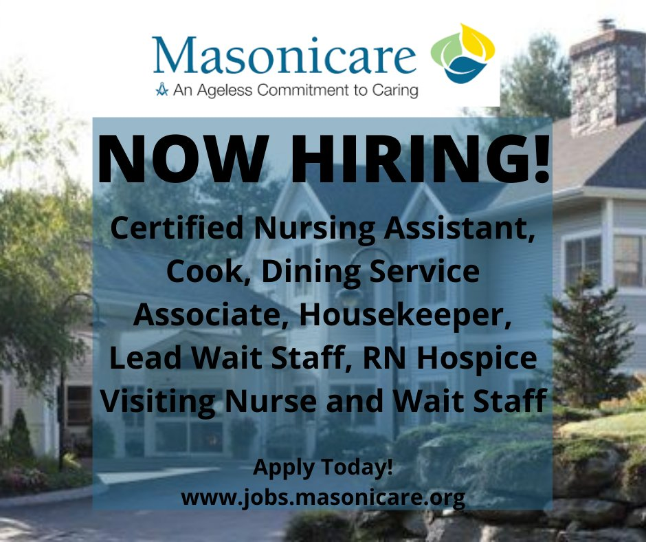 Start Your Journey with Masonicare in Wallingford, CT!  Masonicare is backed by an incredible team of caring individuals—and you could be a part of it. Browse full-time, part-time & weekends-only opportunities.  Apply Here: .