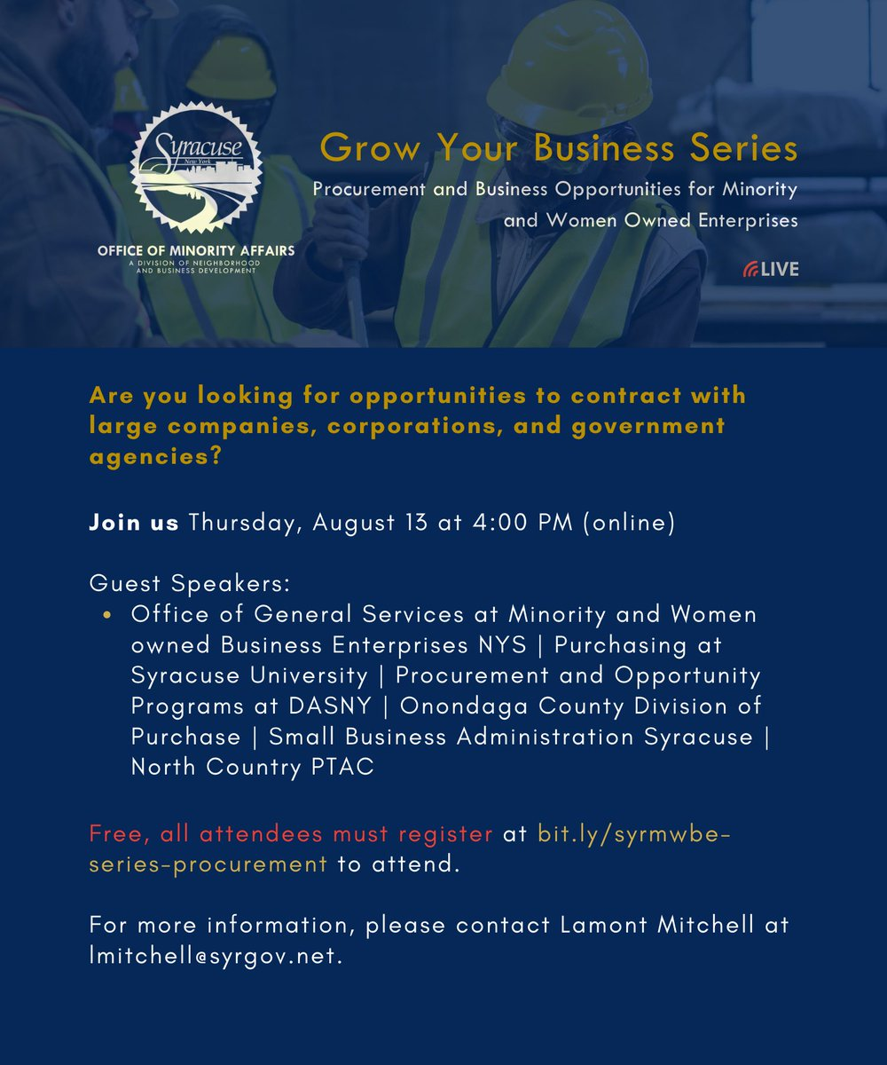 The Office of Minority Affairs will host its second webinar in the Grow Your Business Series on Thurs., Aug. 13 at 4 pm. Procurement experts will share more about contracting opportunities with MWBEs during the free, online event. Register at .