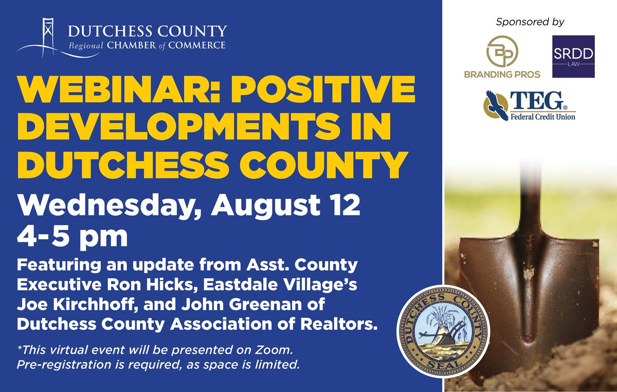 Assistant County Executive Ron Hicks is a panelist for tomorrow's webinar hosted by the @DCRCOC. Hear about some of the positive developments happening around Dutchess & the hope they should inspire for the biz community. #RestartingDutchess Register at