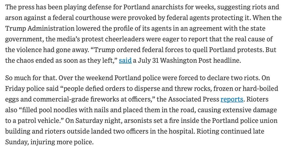 From @WSJopinion 'Mayhem Continues, Protest Narrative Crumbles; Looters rampage in Chicago and arson returns in Portland.'