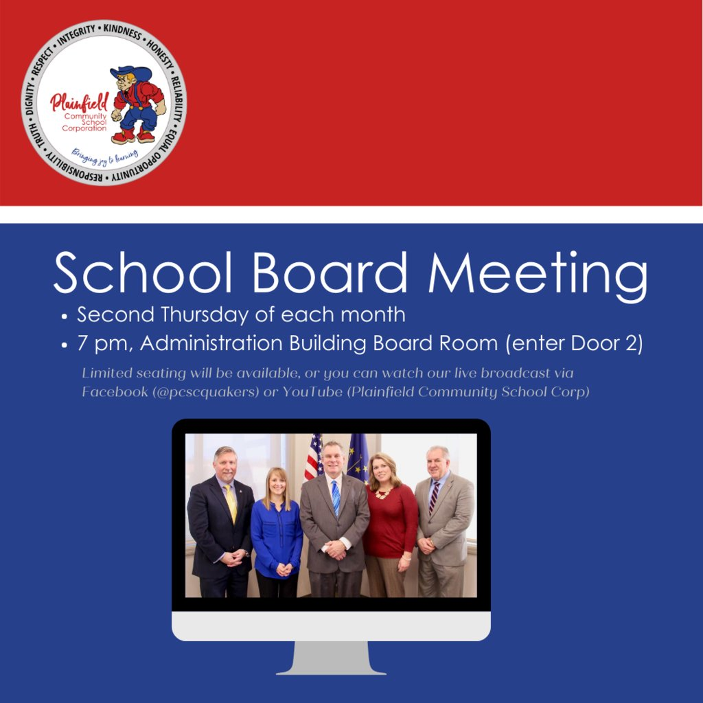 This Thursday is the second Thursday of the month, which means the School Board meeting begins at 7 pm in the Administration Building board room, or via our Facebook and YouTube channels. Limited seating will be available, but be sure to wear your mask!