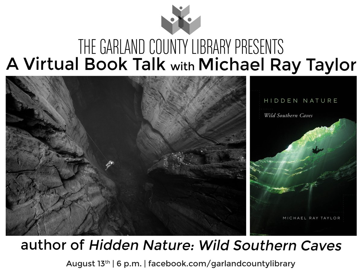 Author Michael Ray Taylor will be joining us live on Facebook on 8/13th at 6 p.m. to discuss his new book, Hidden Nature: Wild Southern Caves. Tune in & comment or ask a question for a chance to win a signed copy of the book. #gclibrary #booktalk #caves #hiddennature #library
