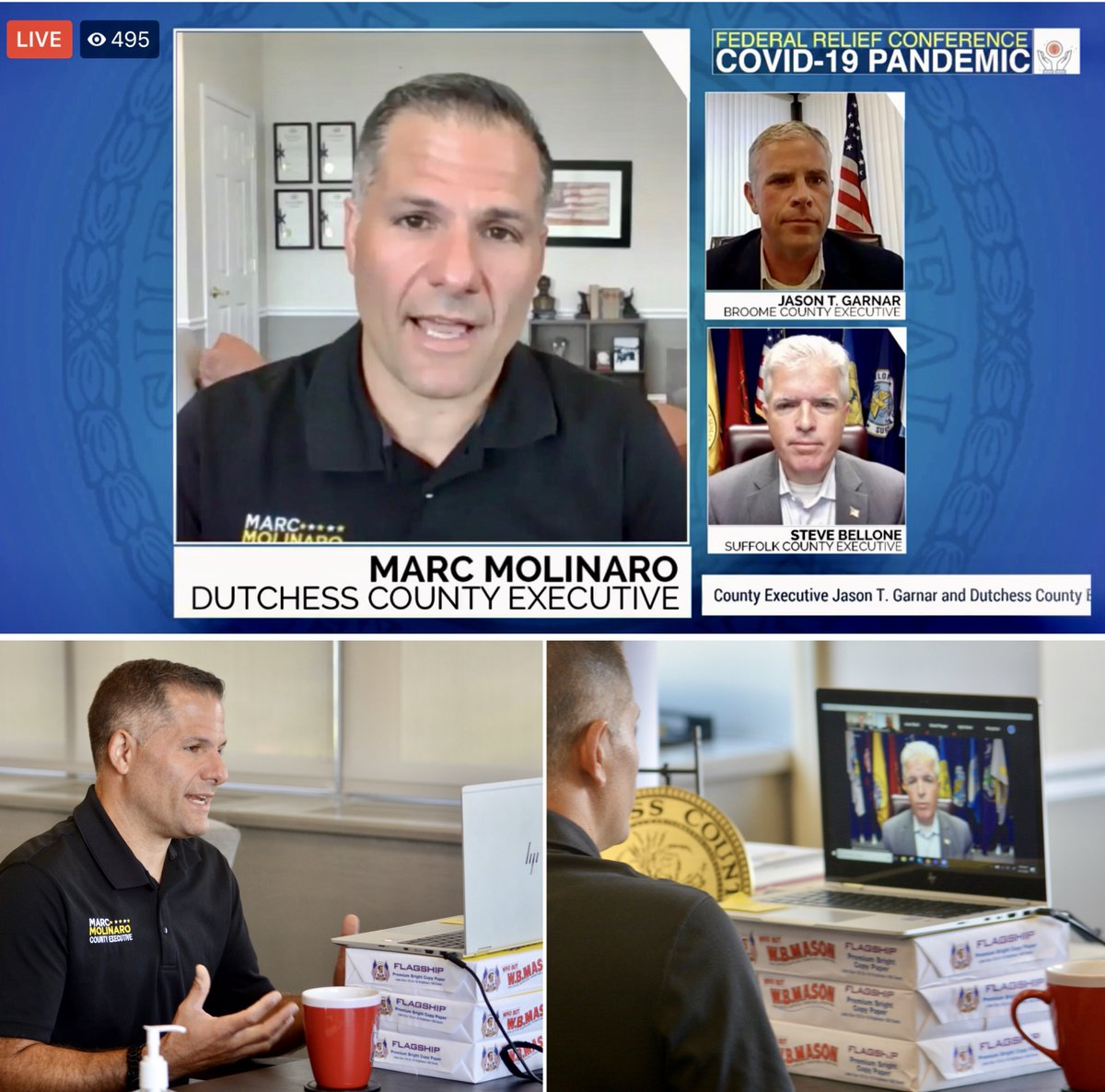 County Executive Marc Molinaro and his counterparts from Suffolk and Broome counties today hosted a virtual press conference to discuss the need for federal aid to local counties as a result of the impact of the COVID-19 pandemic. A replay is available at