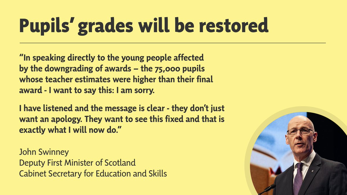 🏫 @JohnSwinney confirms that all SQA downgraded exam grades will be withdrawn and re-issued solely based on teacher judgement.  📣 We've listened to pupils, parents and teachers - and we're putting it right so that no one is left behind.