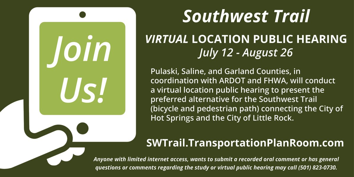 Don't forget! The Southwest Trail virtual location public hearing is July 12 through August 26, 2020 at .