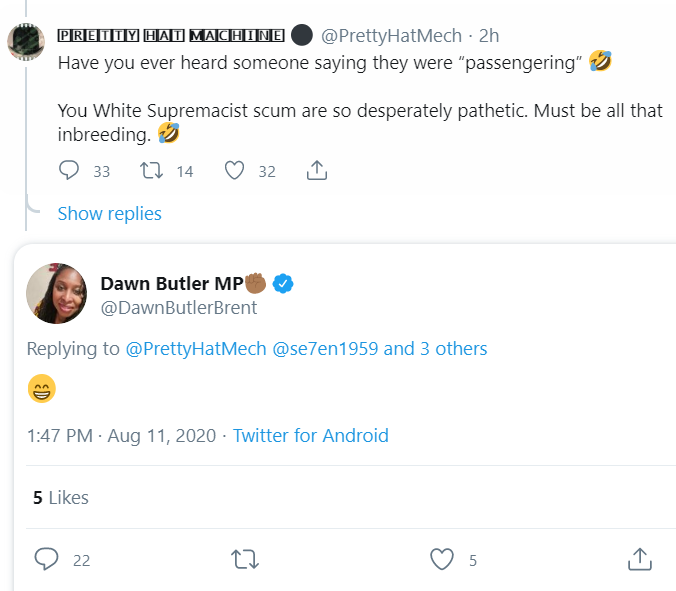 Ahh the truth always comes out.   An MP that literally is a hateful racist.