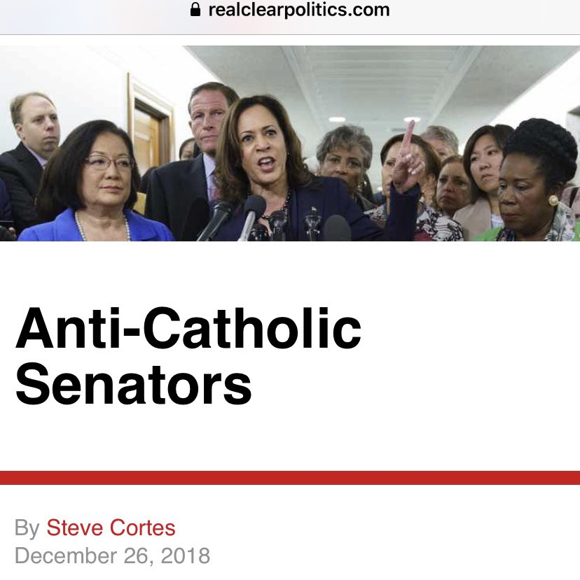 """Kamala Harris is an anti-Catholic bigot who pilloried judicial nominees for being in the Knights of Columbus.  In today's Dem Party, the new McCarthyism asks """"are you now, or have you ever been, a member of the Knights of Columbus?""""  My prior article:"""