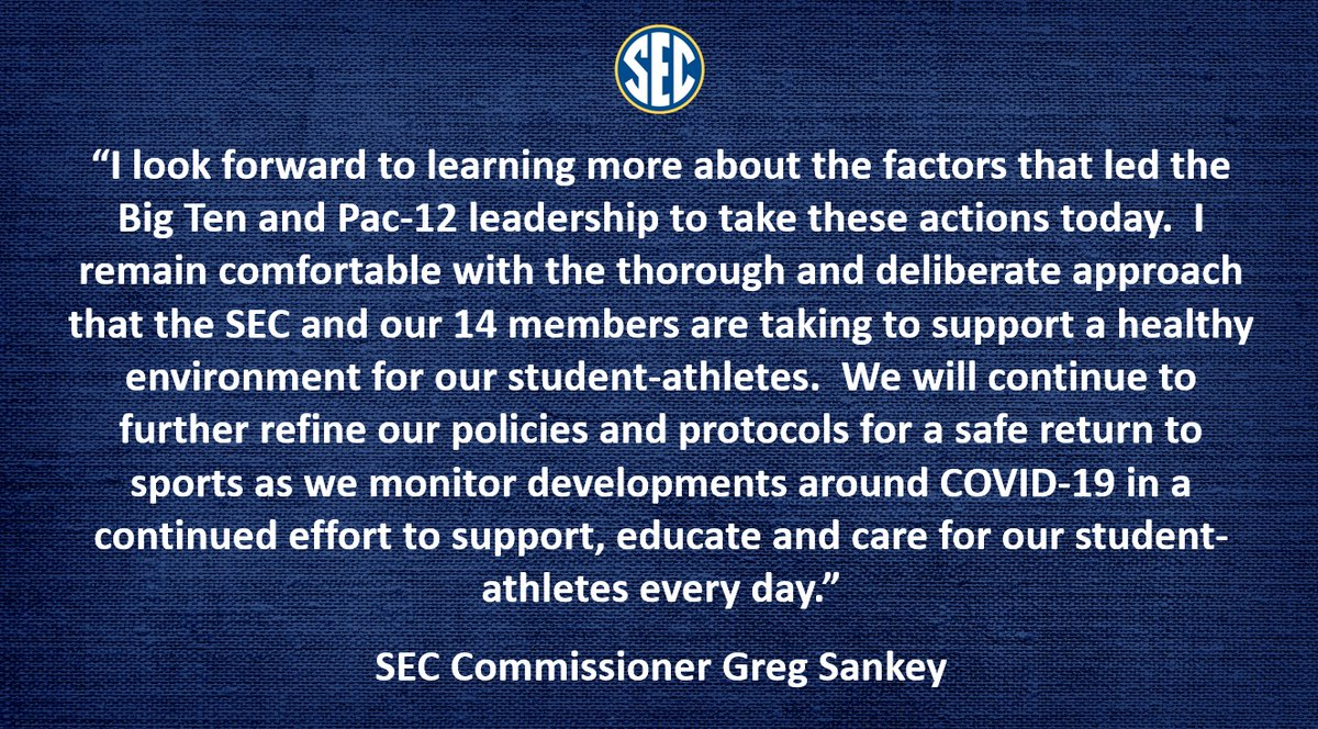 Statement from @SEC Commissioner @GregSankey