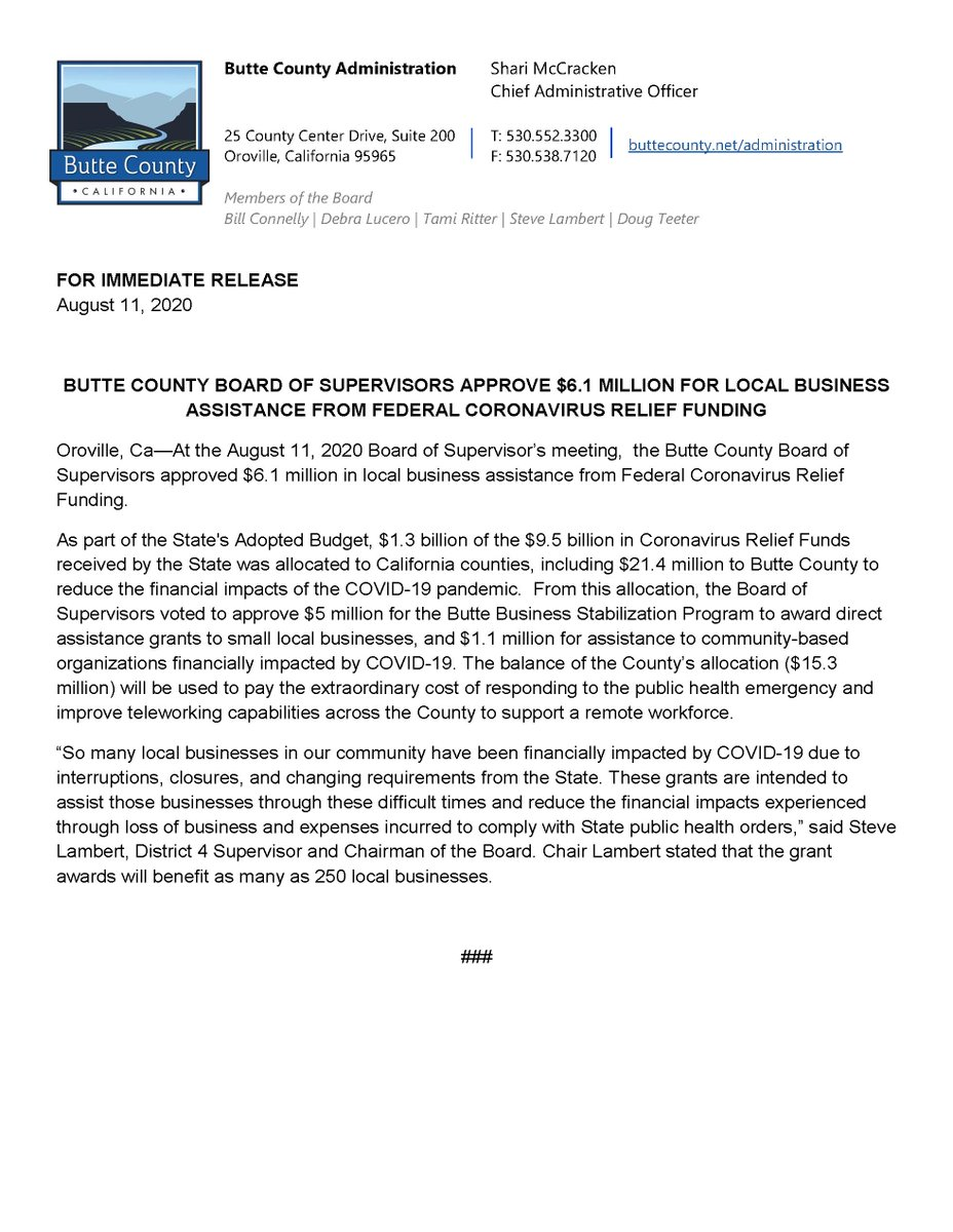 PRESS RELEASE: BUTTE COUNTY BOARD OF SUPERVISORS APPROVE $6.1 MILLION FOR LOCAL BUSINESS ASSISTANCE FROM FEDERAL CORONAVIRUS RELIEF FUNDING