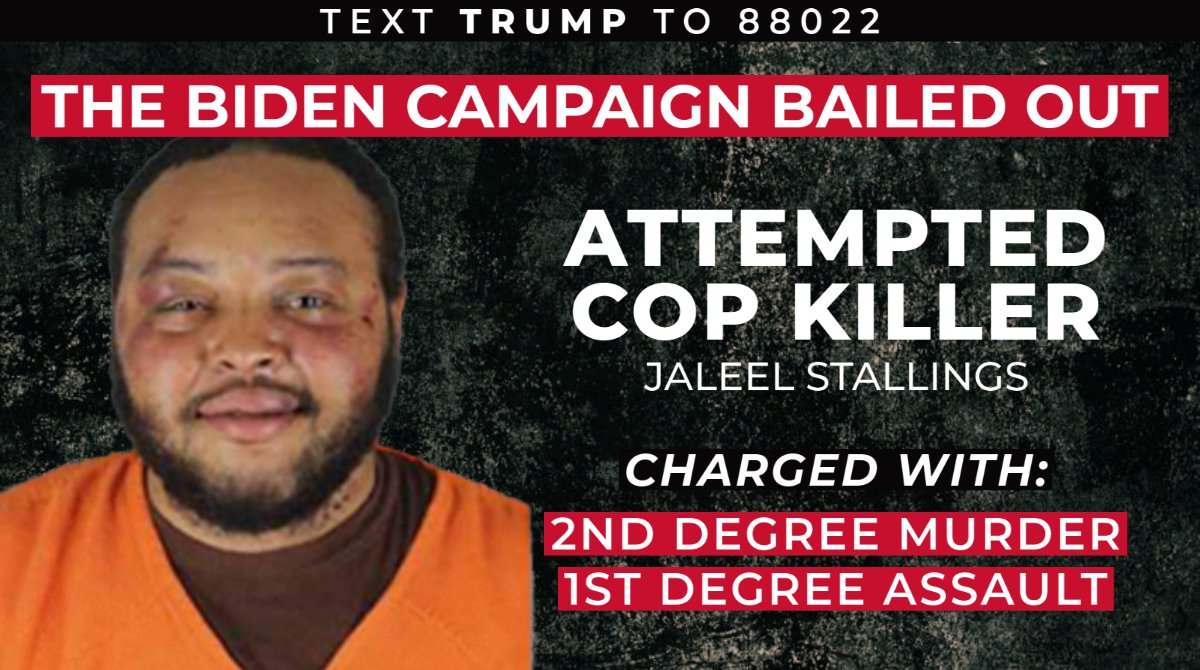 "Jaleel Stallings is a would-be cop killer who was in jail for firing at police during ""peaceful protests.""  Now he's free thanks in part to Biden campaign officials who donated to pay bail fees.   Does Joe Biden regret his campaign putting cops in danger?"